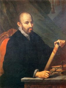 oil painting of man seated, holding book from Renaissance era