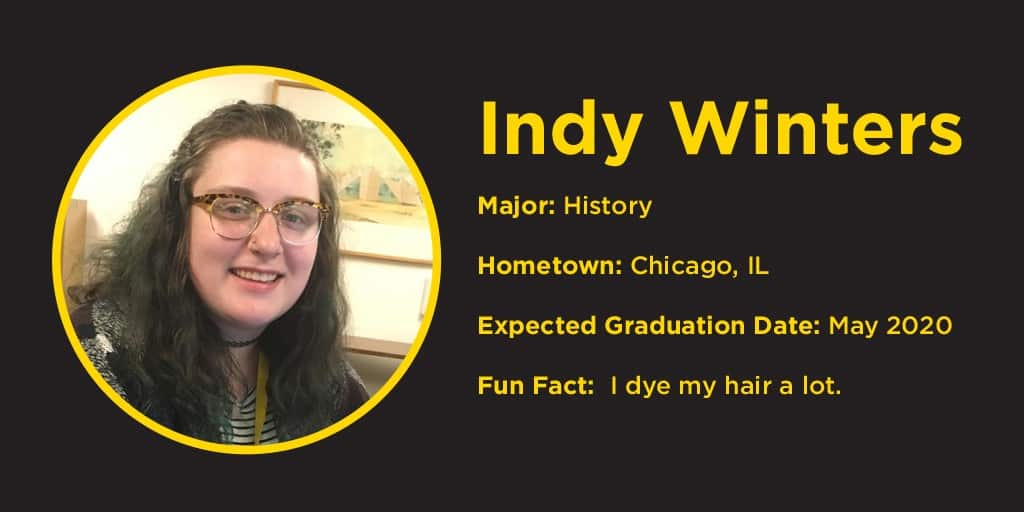 photo of Indy Winters, hometown Chicago, IL, fun fact: I dye my hair alot