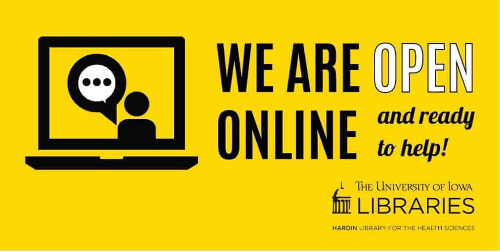 black and gold - image of laptop & speech buble with text we are open online and ready to help