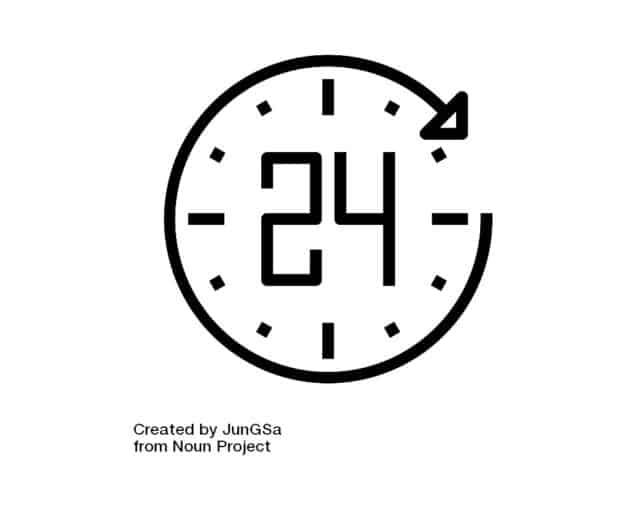 black and white clock that says 24