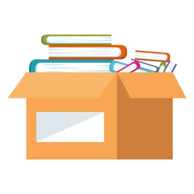 box full of books by studiogstock