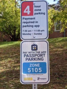 says 4 hour parking payment required in parking app