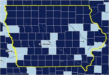 Dark blue indicates where there is a high number of retired people.