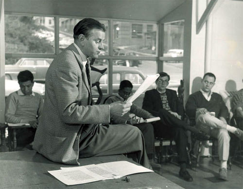 Paul Engle teaching at the Iowa Writers' Workshop, The University of Iowa, ca. 1950s