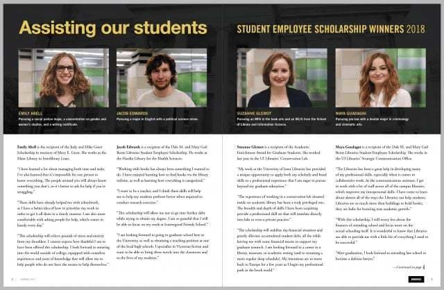 UI Student Employee Scholarship winners 2018