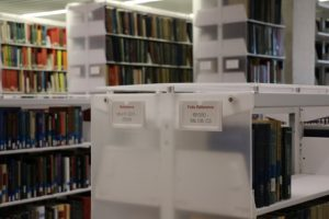 Reference shelving in the new Music Library