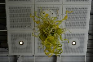 Chihuly glass sculpture hanging in the Music Library