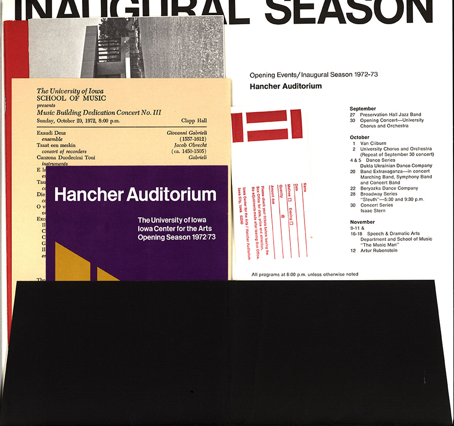 hancher inaugural season packet of promotional materials