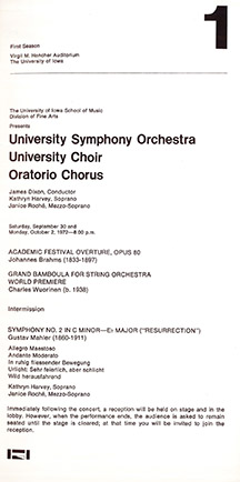 mahler second symphony program from 1972