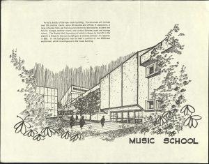 rendering of the School of Music Building late 1960s