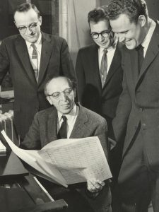 photograph of copland visiting the university of iowa in 1958