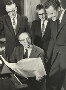 image of philip bezanson, aaron copland, himie voxman, and james dixon