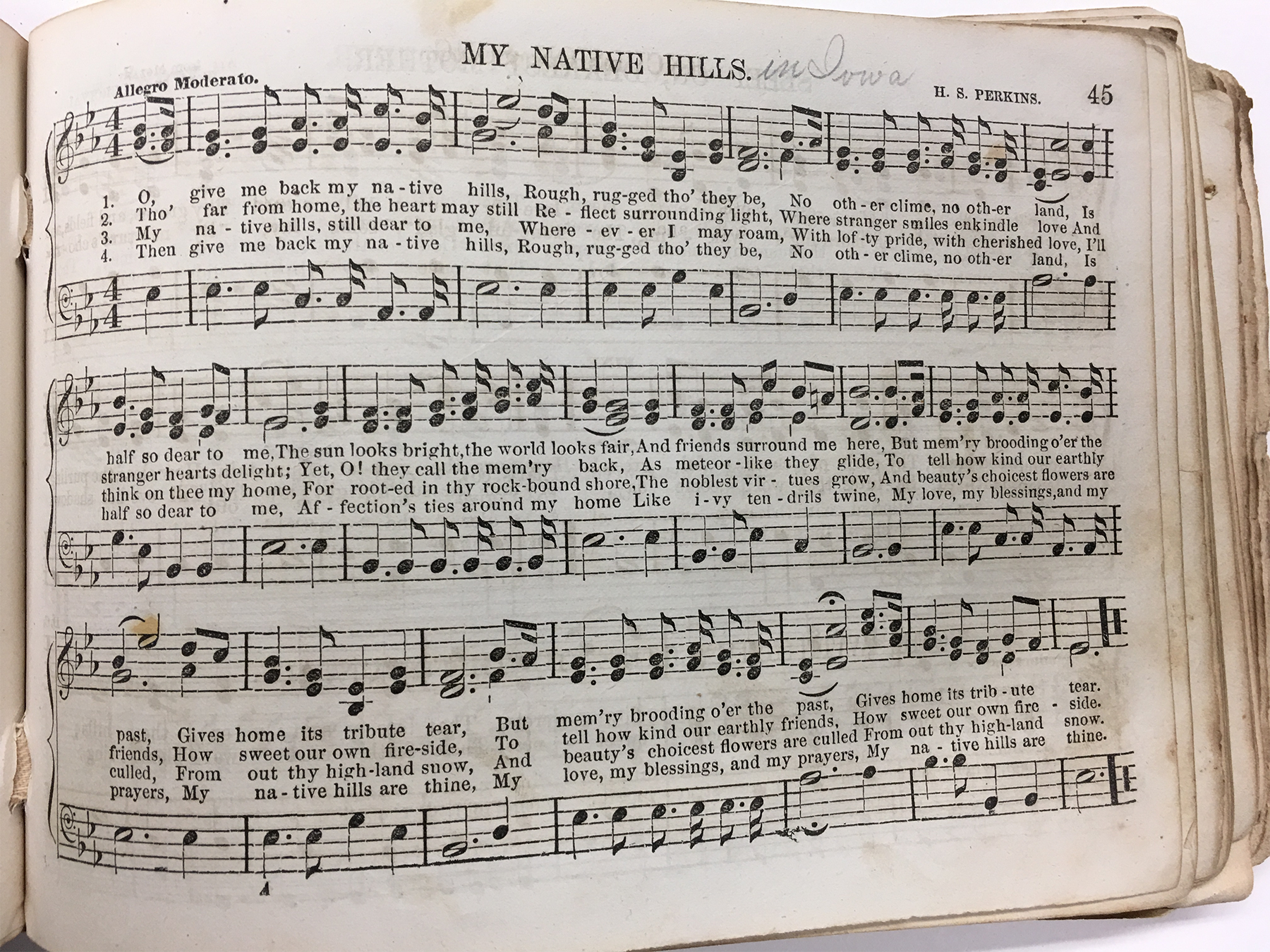 page from perkins the nightingale song my native land