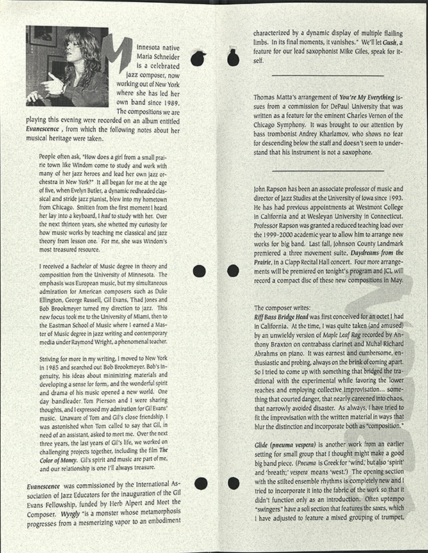program notes from JCL concert in 2000 featuring the music of Maria Schneider