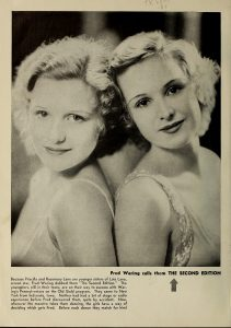 Priscilla and Rosemary Lane photograph in Radio Digest June 1933