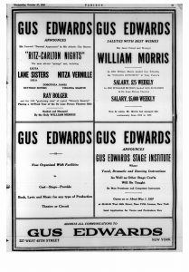 Advertisements from Variety October 27 1926