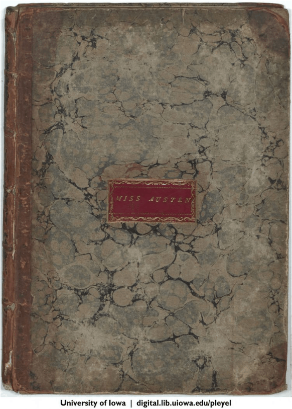 cover of volume of pleyel's six sonatas with nameplate Miss Austen