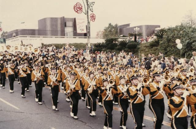 hawkeye marching band at the rose bowl, 1980s