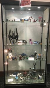 First floor display case with superhero Legos