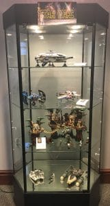 third floor display case with Star Wars Legos