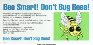 1991 U.S. Government poster: Bee smart! Don't bug bees! Honey bees are important insects because they make honey and beeswax and pollinate many fruits and vegetables.