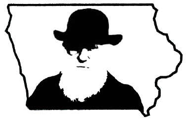 Image of Darwin inside the shape of Iowa