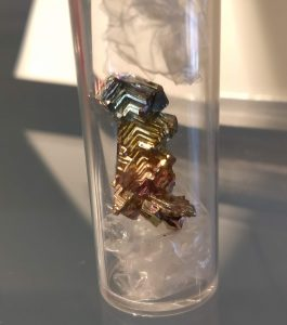 Image of bismuth crystals in multiple colors
