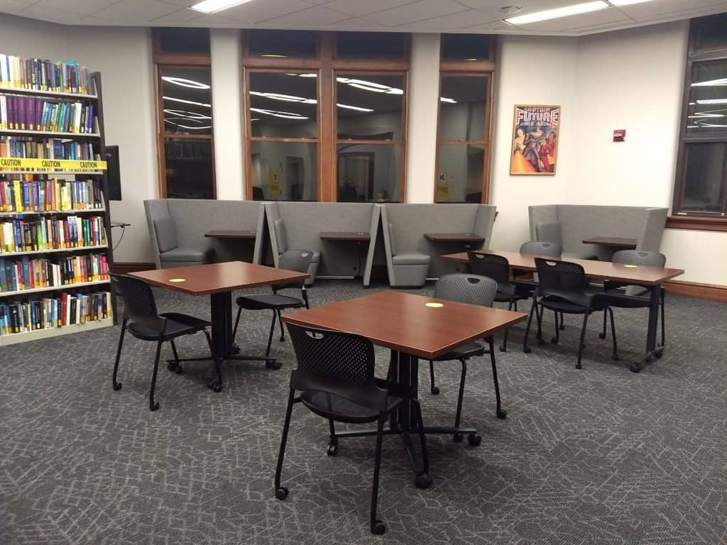 Photo of study booths and tables