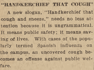 "Image of Daily Iowan article ""Handkerchief that cough"""