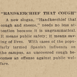 "Thumbnail image of Daily Iowan article ""Handkerchief that cough"""