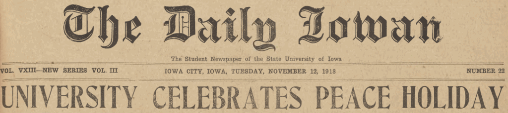 "Cover image of Daily Iowan headline ""University celebrates peace holiday"""