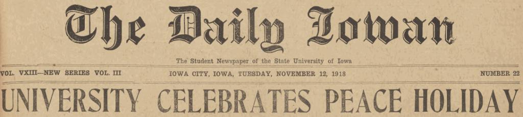 "Cover image of Daily Iowan headline ""University celebrates peace holiday"""