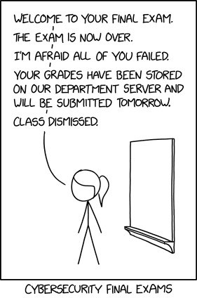 Web comic about cybersecurity final exam