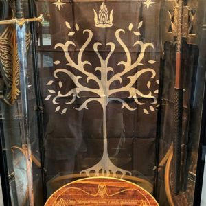 Image of Lord of the Rings swords, banner, and plaque