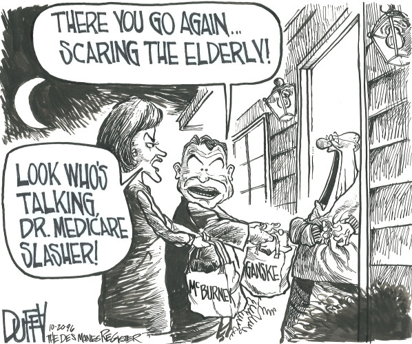 """""""There you go again ... scaring the elderly!"""" By Brian Duffy, Des Moines Register, October 20, 1996."""