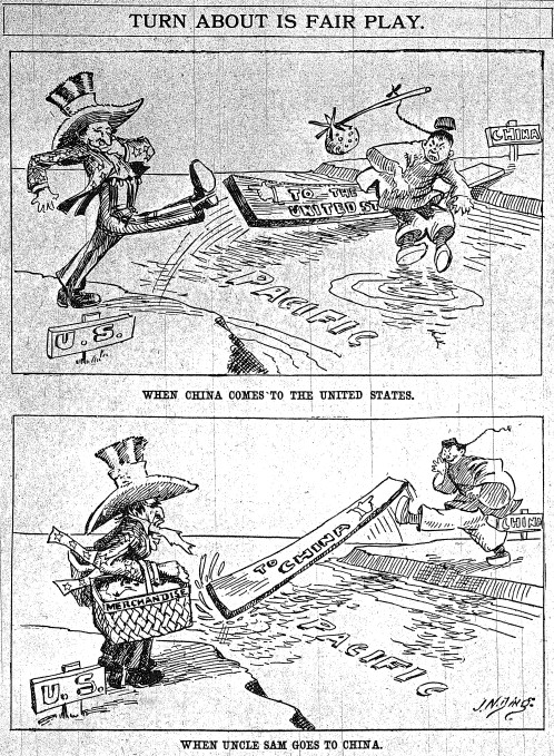 """""""Turn about is fair play."""" By J. N. """"Ding"""" Darling, Sioux City Journal, June 28, 1905."""