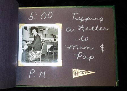Scrapbook page with photo of a girl typing