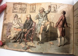 Fold out illustration of a parlor with angry and sad people