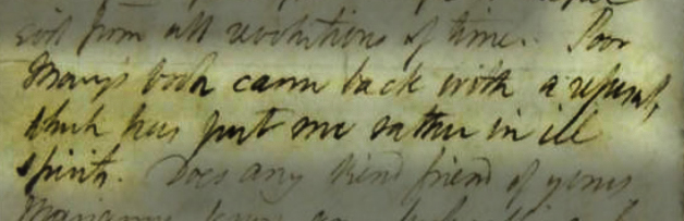 "Handwritten text saying, ""Poor Mary's book has come back with a refusal which has put me in rather ill spirits."""