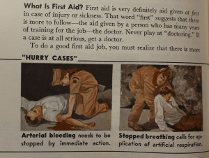 "First Aid is a major topic covered in every handbook. (""Boy Scout Handbook"", 1965)."