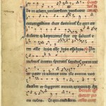 Vellum leaf of a medieval music manuscript