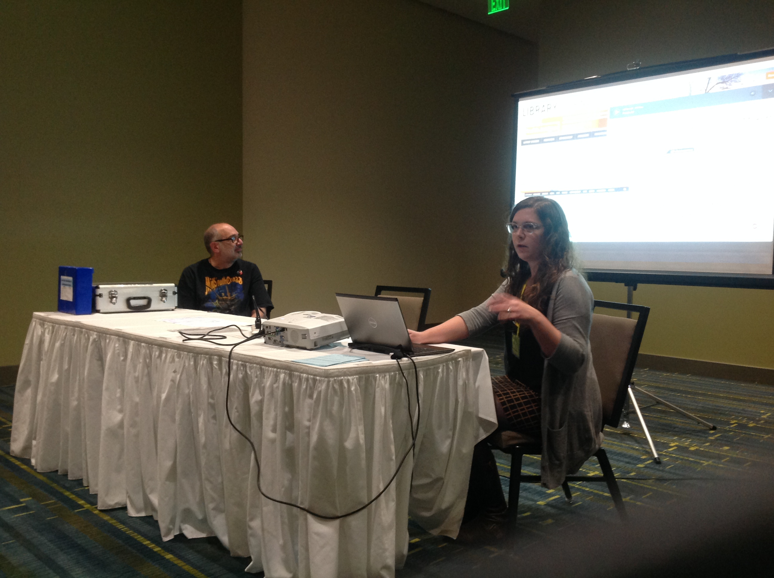 Laura and Pete presenting at a panel