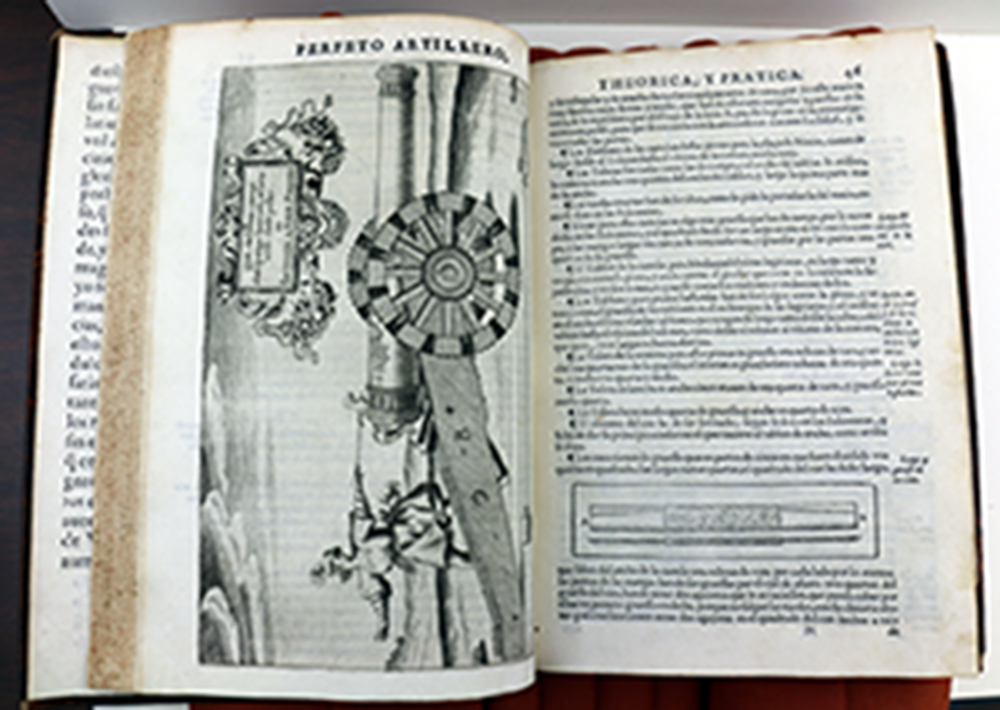 Image of the inside of the book, featuring an illustration of a man firing a cannon