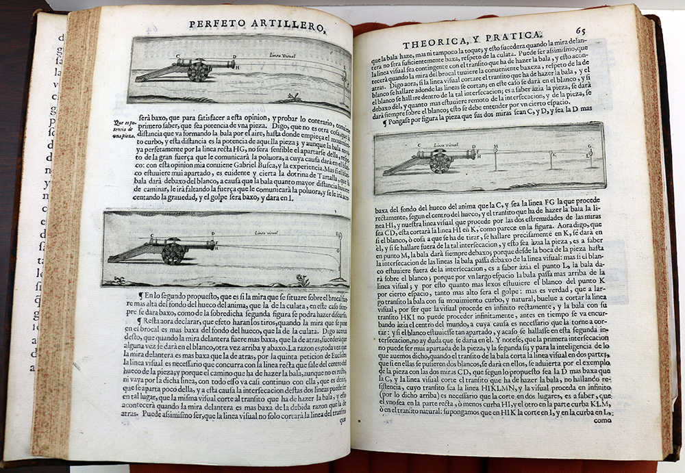 An image of the inside of the book, featuring three illustrations of cannons