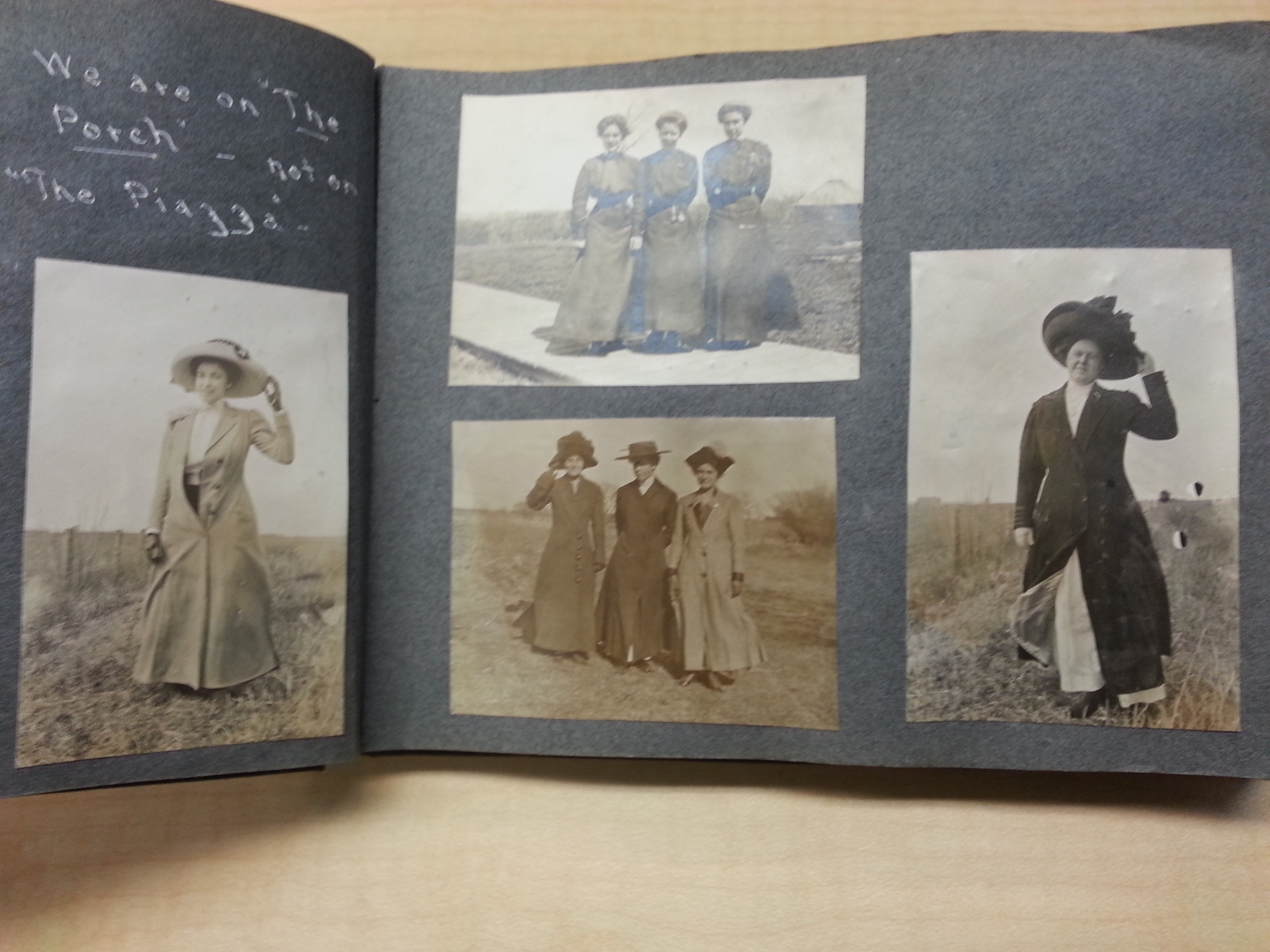Scrapbook page with ladies in hats