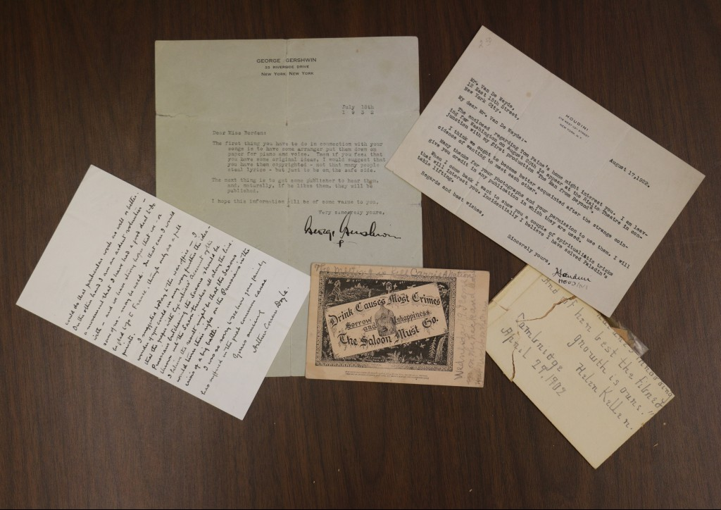 signatures for Arthur Conan Doyle, George Gershwin, Harry Houdini, Helen Keller, and Carrie Nation.