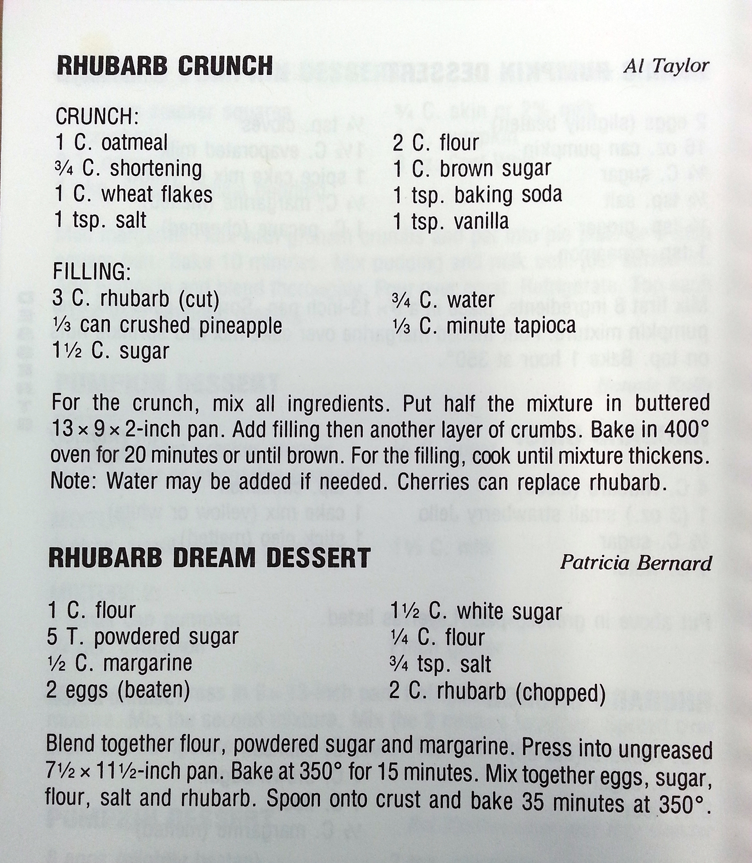 Rhubarb recipe