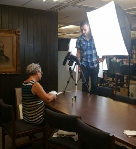 Behind the scenes filming a video with Emily Martin from the Center for the Book