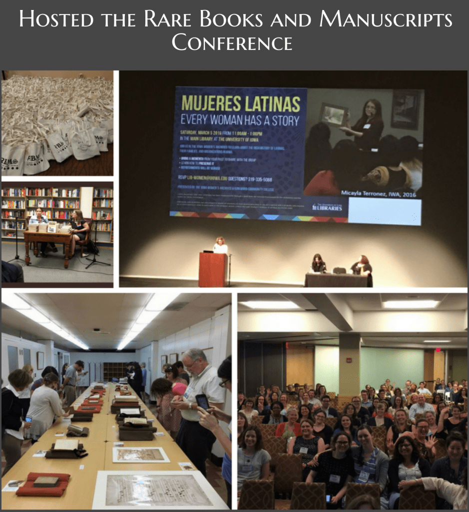 Photos of the RBMS conference including a pile of tote bags, Janet Weaver presenting at Hancher, an Instagram meetup, and the crowd at the closing plenary.