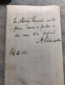 Note from Lincoln
